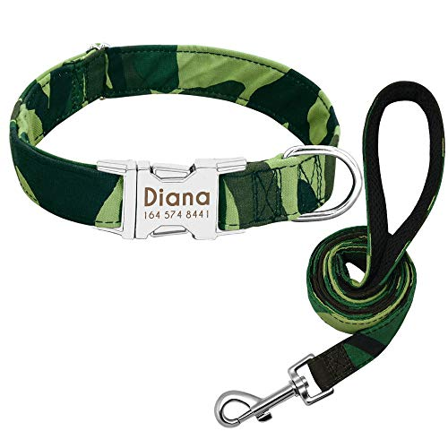 ZYYC Dog Collar Custom Nylon Puppy Cat Dog Tag Collar Leash Personalized Pet Nameplate ID Collars Adjustable for Medium Large Dogs-O_M