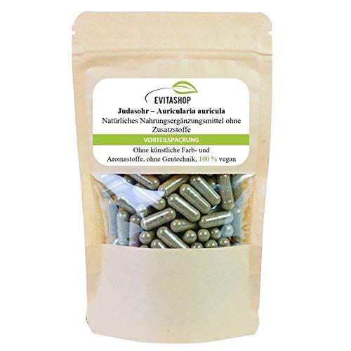 Judasohr, Auricularia auricula-judae, Mu-Err | 1 Packung = 60 x 500 mg | Ohne Zusatzstoffe | Hochwertiges Vitalpilz-Pulver | 100% vegan | Made in Germany