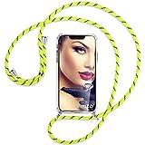 mtb more energy® Handykette kompatibel mit Sony Xperia L2, L2 Dual SIM (5.5'') - Neon-Gelb gestreift - Smartphone Hülle zum Umhängen - Anti Shock Full TPU Hülle