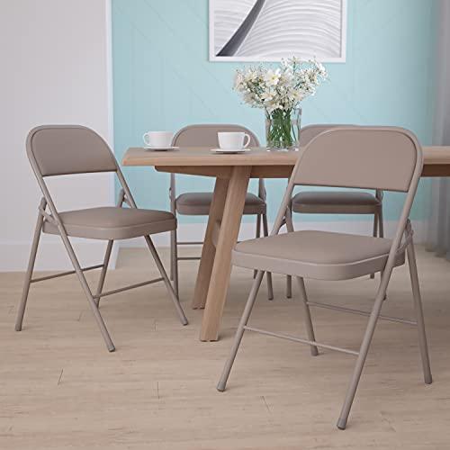 Flash Furniture 4 Pack HERCULES Series Double Braced Gray Vinyl Folding Chair
