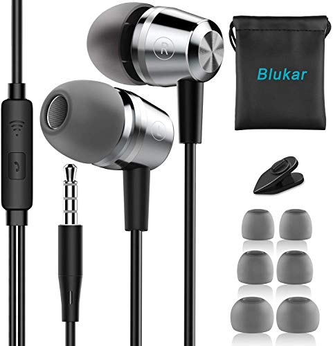 Blukar Auriculares In Ear, Auriculares con Cable y Micrófono Headphone Sonido Estéreo para Galaxy, Huawei, XiaoMi, PC, MP3/MP4 Android y Todos los Dispositivos de Auriculares de 3,5 mm