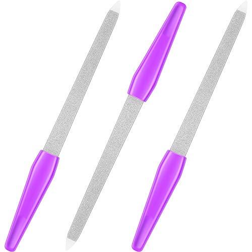 3 Paquets Lime à Ongles Saphir Lime à Ongles en Métal Tampon à Ongles en Plastique à Long Manche Accessoires d'Outils de Manucure pour les Ongles (17.2 cm, Violet)