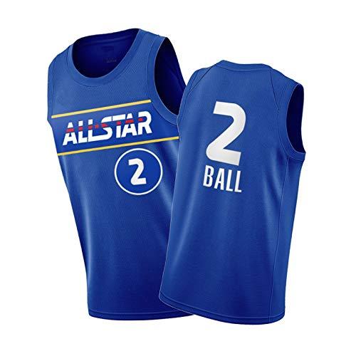 LÄMől Bōll USA Uniforme de baloncesto para hombre, 2021, estrellas de subida azul Jersey / # 2 Royal Blue-M