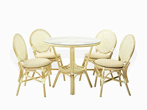 5 Pc Rattan Wicker Dining Set Round Table Glass Top + 4 Denver Side Chairs with Cream Cushions White Wash