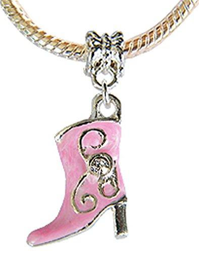 Charm–Stiefel 3D–Kristall. Kompatibel Pandora oder Troll. Email ID Hand. Rosa.