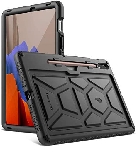 Poetic TurtleSkin Series for Samsung Galaxy Tab S7 Case with S Pen Holder, 11''inch Model SM-T870/T875/T878 (2020 Release), Heavy Duty Shockproof Kids Friendly Protective Silicone Cover, Navy Blue