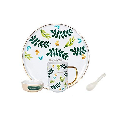 Platos llanos Cocina creativa Juego de vajillas Conjuntos de placa de cerámica de 4 piezas, taza del tazón de placa, servicio para 1, personalidad platos para el hogar conjunto Platos de comida