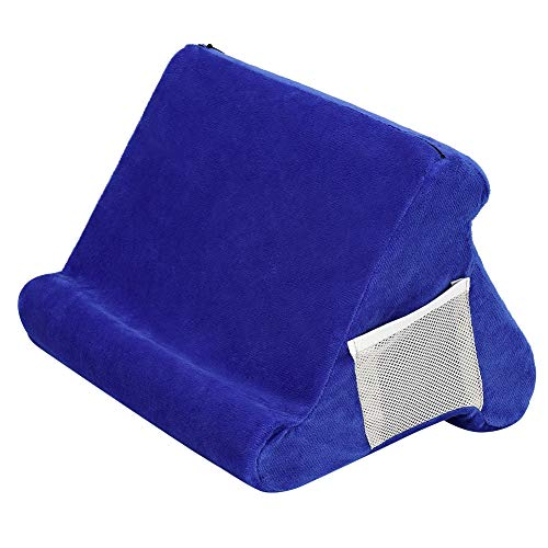 Fevzau Tablet Cushion Stand with Phone Pocket, Multi-Angle Tablet Stand, Tablet Stand Pillow Holder, Soft and Comfortable 23X23X20cm, for IPads, Tablets, EReaders, Smartphones, Books, Magazines
