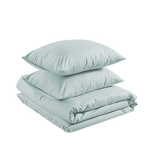AmazonBasics Brushed Percale Cotton Duvet Comforter Cover Set, King, Powder Blue