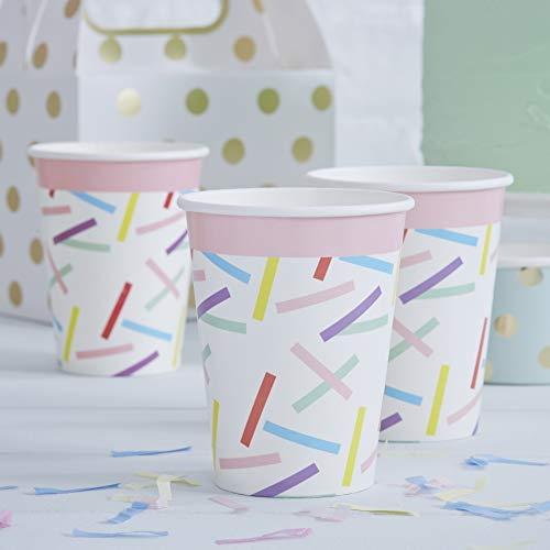 Ginger Ray Sprinkles (80s pattern) Paper Party Cups X 8