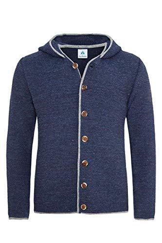Isar-Trachten Herren Herren Trachtenstrickjacke mit Kapuze Jeansblau, Jeans, 54
