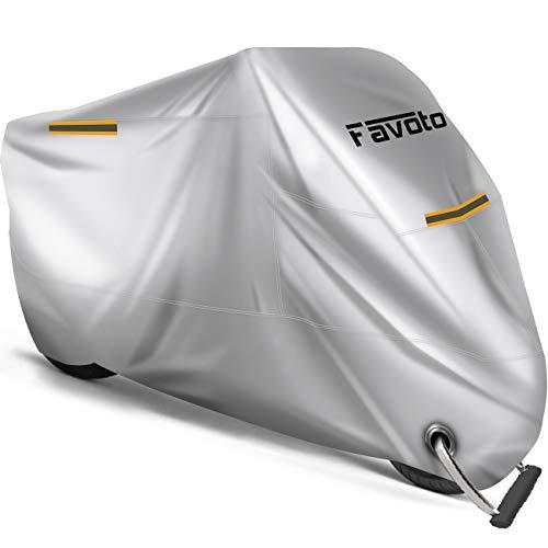 Favoto Funda para Moto Cubierta de la Motocicleta 210D Oxford Sellado Térmico de Costura a Prueba de Polvo Lluvia Viento Hojas Excrementos de Aves al Aire Libre XXXL 265cm Plata