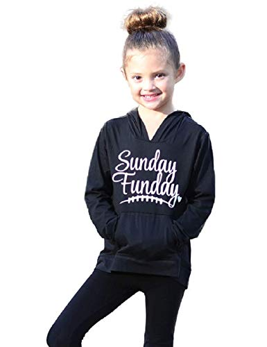 Mother and Daughter Hoodies Christmas Long Sleeve Sunday Funday Print Sweatshirt Pullover Top with Pocket (3-4 Years, Black)