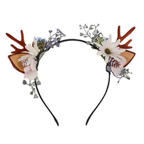 Minkissy Weihnachts-Geweih, Stirnband, Rentier mit Ohren, Haarreif, blumiges Haarband für Weihnachtfeier, für Damen, Mädchen (verschiedene Muster)