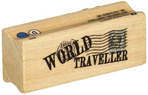 Inkadinkado ''World Traveler'' Wood Stamp for Arts and Crafts, 2.5'' W x 1'' L