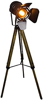 XMAGG Lámpara de Pie Proyector con Trípode de Madera Diseño Foco Cinema, Altura regulable, Estilo Vintage y Retro - Iluminacion de Lectura, Lámpara de Suelo, de Salón, Dormitorio