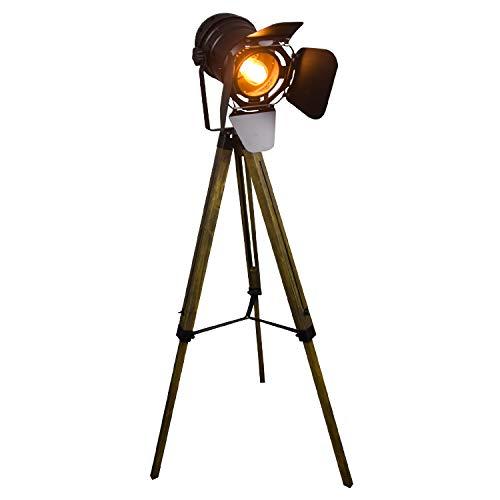 QJUZO Lámpara de Pie Proyector con Trípode de Madera Diseño Foco Cinema, Altura regulable, Estilo Vintage y Retro - Iluminacion de Lectura, Lámpara de Suelo, de Salón, Dormitorio
