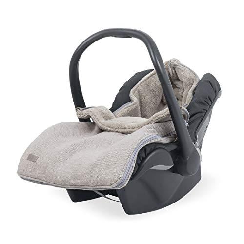 Jollein - Baby Fußsack 42x82cm Natural Knit sand/beige - Strick Schlafsack für Babyschalen und Autositze - Universal Komfortsack für unterwegs - Wasserdichter Winterfußsack