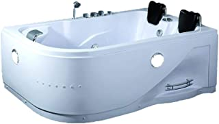 2 Person Whirlpool Massage Hydrotherapy White Corner Bathtub Tub with BLUETOOTH, Remote Control and Inline Water Heater