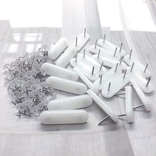 Markeny 20 Pieces Plastic Head Double Pins Bed Skirt Holding Pins Furniture Chair Leg Feet Pads Glide Nails and 50 Pieces Bed Skirt Pins Clear Heads Twist Pins
