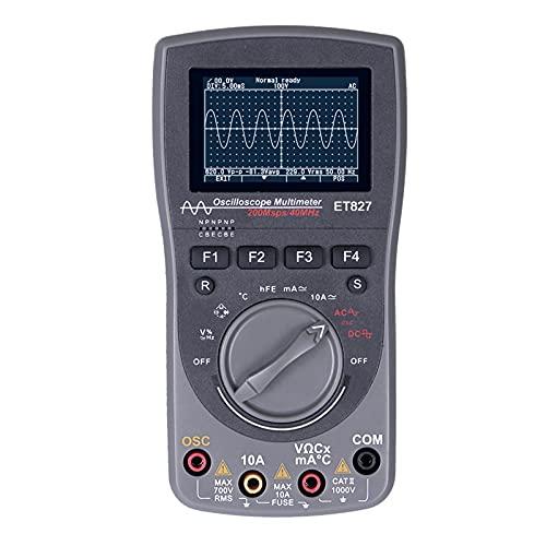 Osciloscopio digital 2 en 1 - ET827 Smart 2 en 1 Osciloscopio digital 40MHz 200Msps/S Multímetro de valor eficaz verdadero de 6000 cuentas