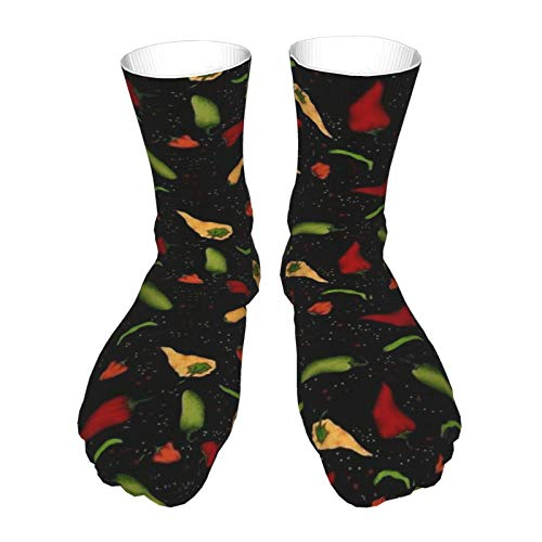 Dicke Socken als Geschenk Thick Novelty Socks 40cm Red Yellow Green Chili Pepper Casual 3D Athletic Crew Socks for Mens Womens