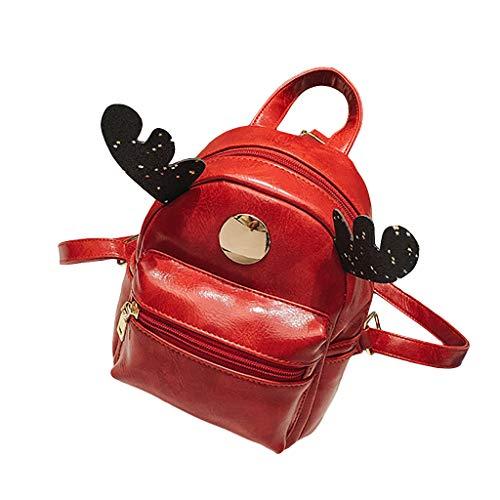 Schultasche Kind Rucksack Junge Mädchen Elegant handtaschen Mode Grundschule Student Im Freien Reise Backpack Anti Diebstahl Taschen Qmber Lässiger Kleiner Rucksack aus Elchleder für Kinder,rot