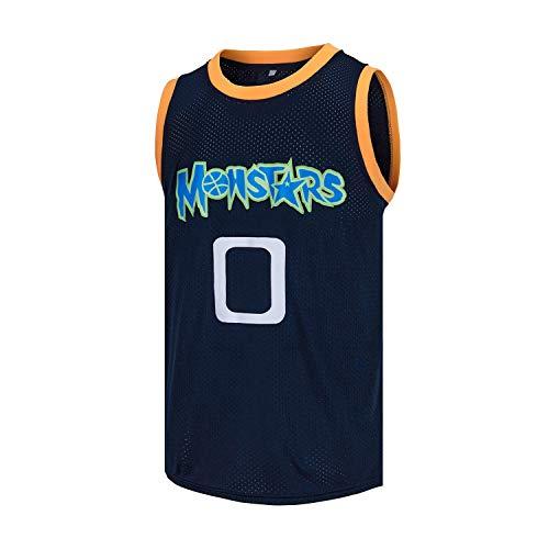 VOVIDEA Mens Basketball Jersey Alien 0 Monstars Space Movie Jersey Dark Blue (Dark Blue, X-Large)