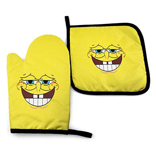 CRTY Spon-ge-Bob Oven Mitts and Pot Holders Set Kitchen Gift Set, Non-Slip Textured Grip and Heat Resistant Perfect for Cooking Baking BBQ Grilling