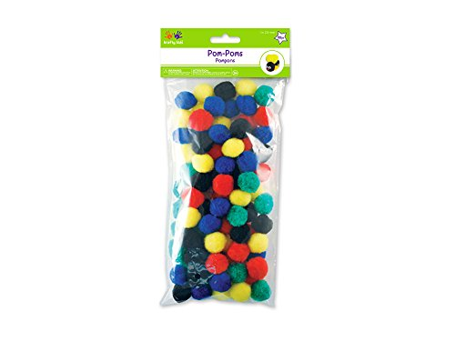 Krafty Kids KC210A Pompons pour enfants, 25 mm, couleurs primaires, 80/emballage
