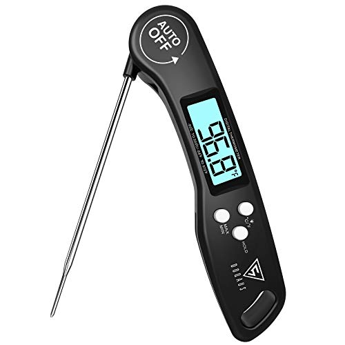 DOQAUS Digital Meat Thermometer, Instant Read Food Thermometer for Cooking, Digital Kitchen Thermometer Probe with Backlight & Reversible Display, Cooking Thermometer for Turkey Candy Grill BBQ