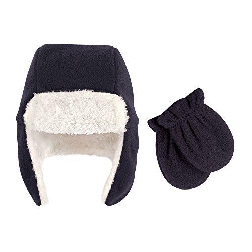 Hudson Baby Unisex Fleece Trapper Hat and Mitten Set, Navy Baby, 6-12 Months