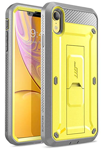 iPhone XR Case, SUPCASE Full-Body Rugged Holster Kickstand Case with Built-in Screen Protector for Apple iPhone XR 6.1 Inch (2018 Release), Unicorn Beetle Pro Series -Retail Package (Yellow)