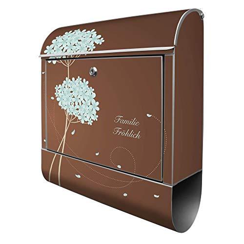Banjado Design Briefkasten personalisiert mit Motiv WT Blaue Hortensie | Stahl pulverbeschichtet mit Zeitungsrolle | Größe 39x47x14cm, 2 Schlüssel, A4 Einwurf, inkl. Montagematerial