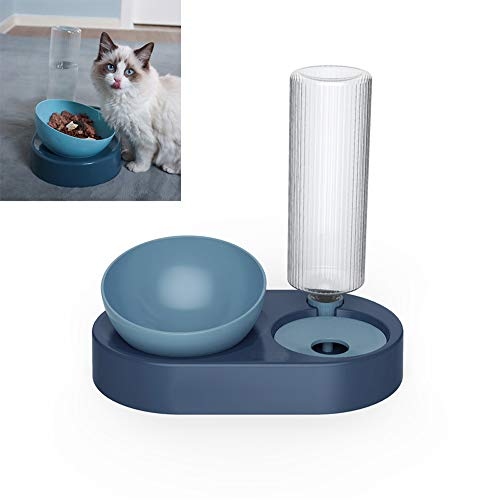 ITODA Automatic Water Bowl and Food Bowl Set, 2 in 1 Raised Gravity No Drip Pet Drinking Bottles Dispenser 0-15°Adjustable Tilted Feeder Bowls for Puppy Dog Small Animals