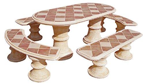 AnaParra Conjunto DE Mesa EN Piedra Oval 194cm.Azulejos Mod.Sauce