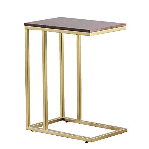 Eenvoudige massief houten bijzettafel, smeedijzeren C-type kleine koffietafel, vierkante bank, nachtkastje, computertafel, ontbijttafel, goud