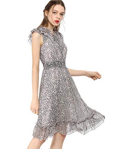 Allegra K Damen A Linie Ärmellos Volant Chiffon Leopard Midikleid Kleid Leopard L (EU 44)