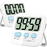 Timers, Classroom Timer for Kids, Kitchen Timer for Cooking, Egg Timer, Magnetic Digital Stopwatch Clock Timer for Teacher, Study, Exercise, Oven, Cook, Baking, Desk - AAA Battery Included - 2 Pack
