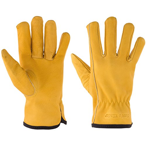 Suse's Kinder Kids Leather Work Gloves ages 9-11, Yellow