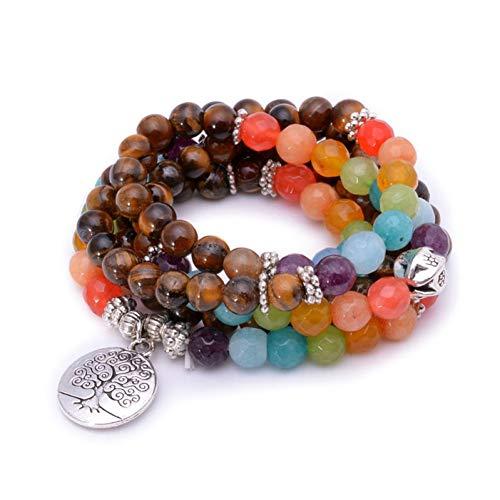 Tree Life 7 Chakra A Tiger Eye kralenarmband Unisex 108 Mala kralen armbanden of ketting Buddha Healing Stone kralen armband