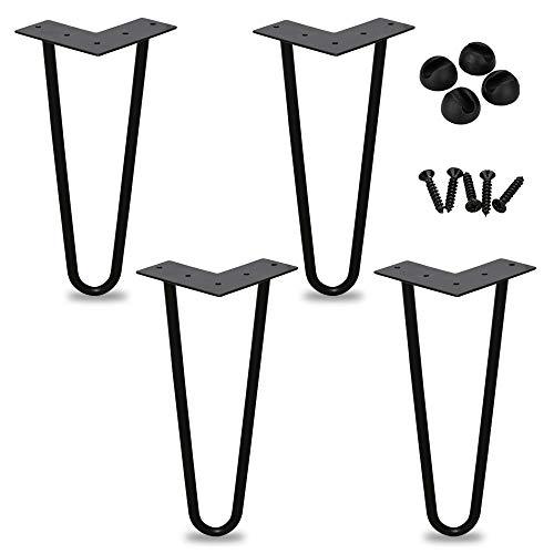 4er Hairpin Legs Schreibtisch Tischbeine Austauschbare Haarnadelbeine Tischgestell 20cm mit Doppelstab Bodenschoner und Schrauben Verfügbar in Höhe von 15cm-72cm