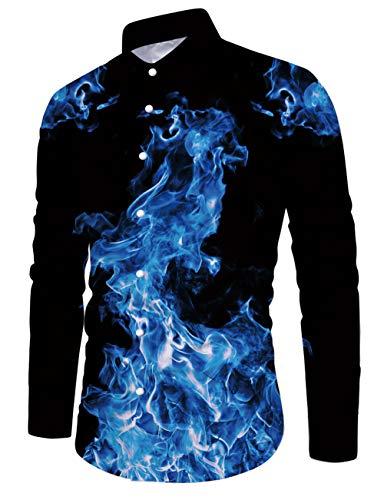 Fanient Herren Blumenshirt Freizeitkleidung 3D Gedruckt Formelle Festtagsmode Blaues Flammenmuster Freizeithemd Schwarz XL
