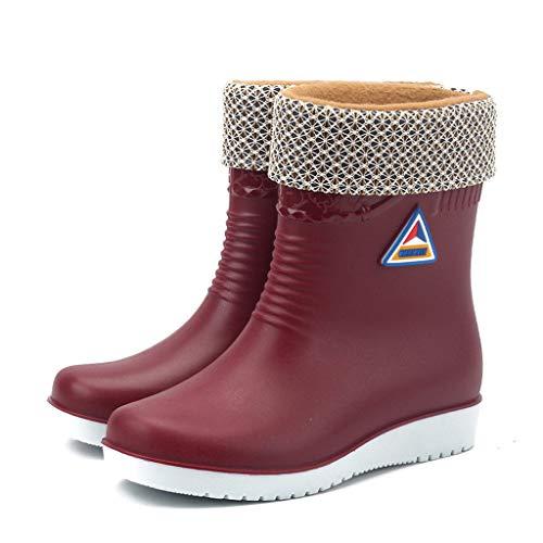 Riou Gummistiefel Damen Gefüttert und Wasserdicht Winter Warm Outdoor rutschfest Flacher mit Blockabsatz Kurzschaft Regenstiefel Regenschuhe Rain Boots