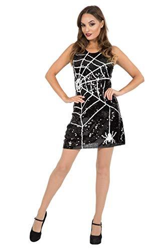 ORION COSTUMES Damen Schwarze Pailletten Spinnennetz Hexe Furchterregendes Sexy Halloween Maskenkostüm