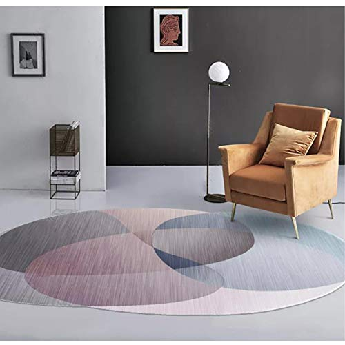 RPLW Moderna Geometrica Tappeto per Salotto, Ovale Tappeto per Il Salone, Antiscivolo Lavabile Comodino Mat Bagno Tappeto di Design-c 80x160cm(31x63inch)