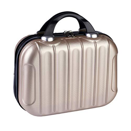 Vssictor Aufbewahrungsbox, Korb, Tasche, Organizer, wiederverwendbar, tragbar, wasserdicht, Kosmetiktasche, Mini-Reisekoffer mit elastischen Bändern, champagnerfarben, Champagne