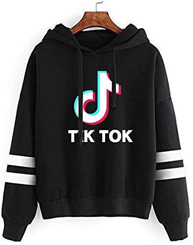 PUUE Fashion TIK TOK Striped Long Sleeve Hoodie Pullover Sweatshirt Jumper for Funs(Black X-Small)