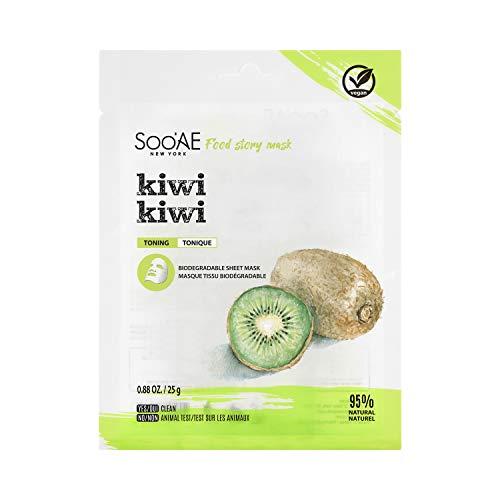 Sooae - Food Story Kiwi, Mascarilla Coreana Tonificante con Vitamina C (Vegana)