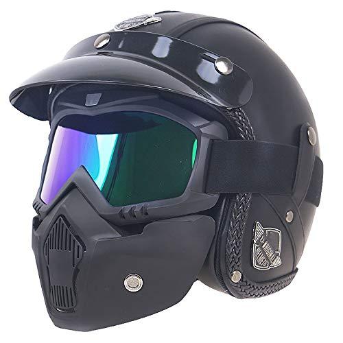 SXC Harley 3/4 Jethelm, Jethelm Motorradhelm ECE/DOT Standard mit Goggles-Maske und Sonnenblende PU-Leder herausnehmbares Innenfutter, für Männer, Frauen